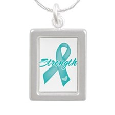 Strength - Ovarian Cancer Silver Portrait Necklace