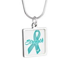 Strength - Ovarian Cancer Silver Square Necklace