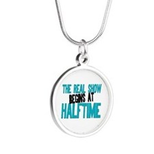 Marching Band Halftime Silver Round Necklace