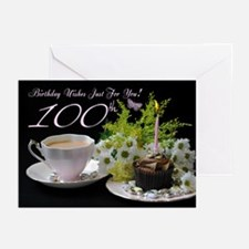 100th Birthday Greeting Card With Tea (Pk of 10)