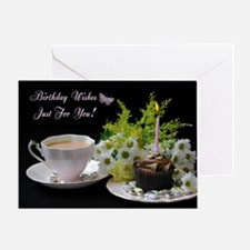 Blank Birthday Card With Tea Flowers And Cake