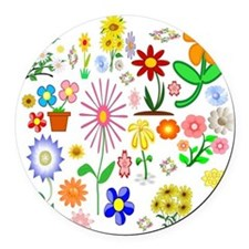 Field of Flowers Round Car Magnet