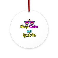 Crown Sunglasses Keep Calm And Spork On Ornament (