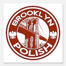 "Brooklyn New York Polish Square Car Magnet 3"" x 3"""