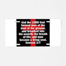 Genesis 2:7 Aluminum License Plate