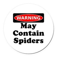 May Contain Spiders Round Car Magnet