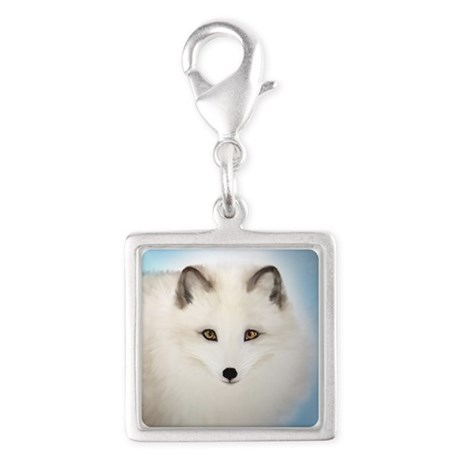 Arctic Fox with Blue Background Silver Square Char