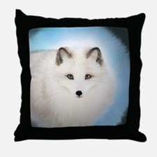 Arctic Fox with Blue Background Throw Pillow