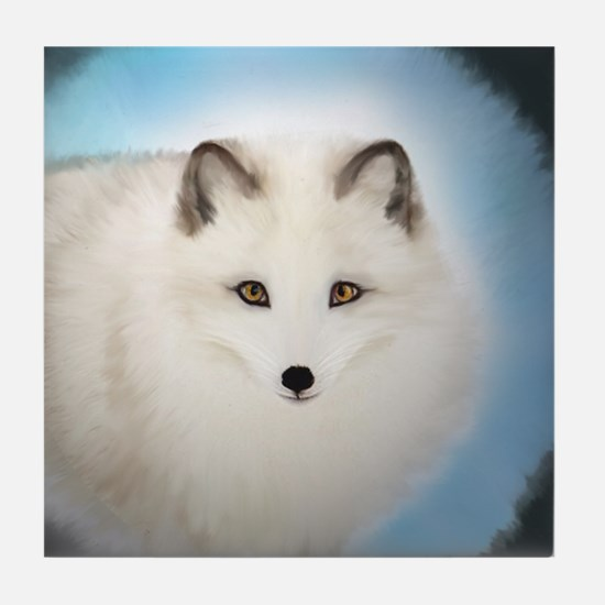 Arctic Fox with Blue Background Tile Coaster
