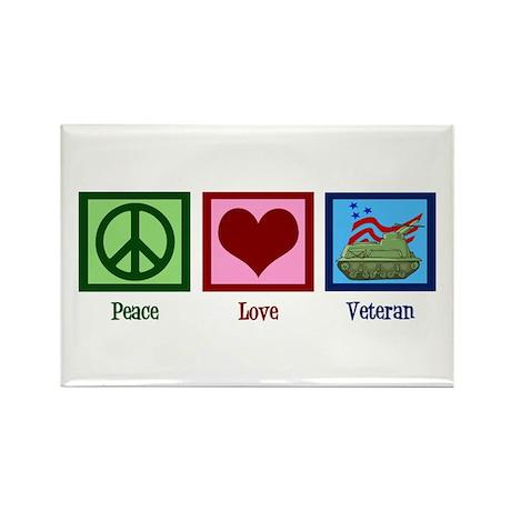 Peace Love Veteran Rectangle Magnet