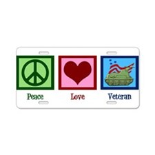 Peace Love Veteran Aluminum License Plate
