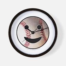 Baseball Happy Face Wall Clock