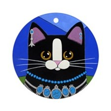 Tuxedo CAT Porcelain Keepsake Ornament (Round)