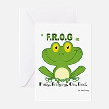 F.R.O.G. Fully, Relying,On,God Greeting Cards (Pk