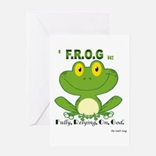 F.R.O.G. Fully, Relying,On,God Greeting Card