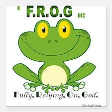 F.R.O.G. Fully, Relying,On,God Square Car Magnet 3