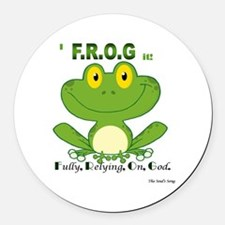F.R.O.G. Fully, Relying,On,God Round Car Magnet