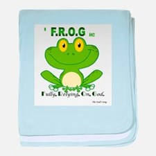F.R.O.G. Fully, Relying,On,God baby blanket