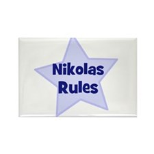 Nikolas Rules Rectangle Magnet