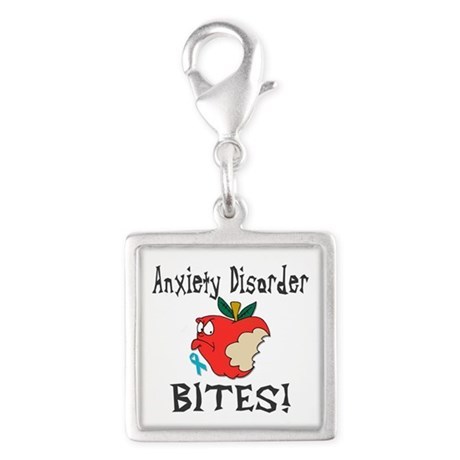 Anxiety Disorder Bites Silver Square Charm