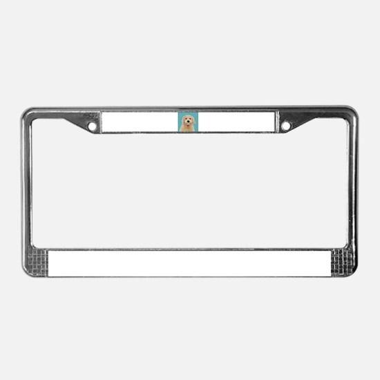 Cream Labradoodle License Plate Frame