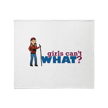 Girl Hiking Throw Blanket