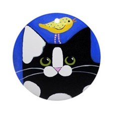 Black/White CAT & Bird Porcelain Ornament (Round)
