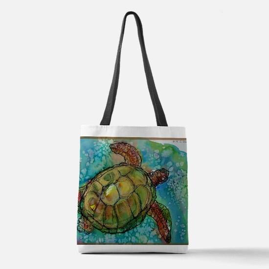 Sea turtle! Wildlife art! Polyester Tote Bag