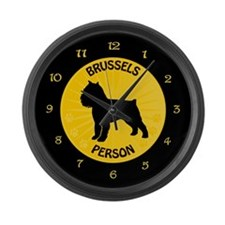Brussels Griffon Person Large Wall Clock