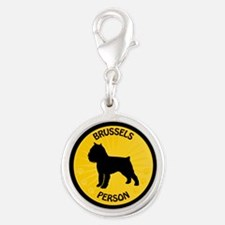Brussels Griffon Person Silver Round Charm