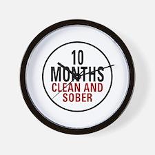 10 Months Clean & Sober Wall Clock