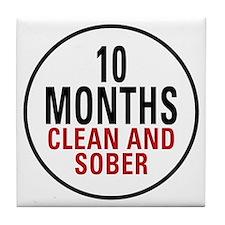 10 Months Clean & Sober Tile Coaster