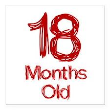 "18 Months Old Baby Milestones Square Car Magnet 3"""