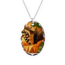 Tiger Lily Butterfiles Necklace Oval Charm