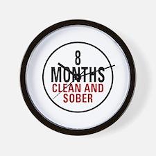 8 Months Clean & Sober Wall Clock