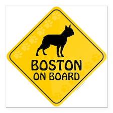 """Boston On Board Square Car Magnet 3"""" x 3"""""""