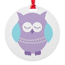 Sleepy Purple Owl Ornament