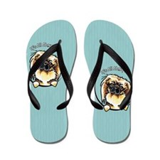 Pekingese IAAM Blue Stripes Flip Flops
