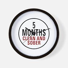 5 Months Clean & Sober Wall Clock