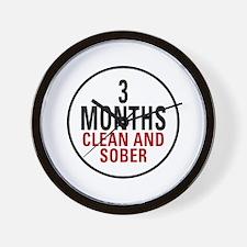 3 Months Clean & Sober Wall Clock