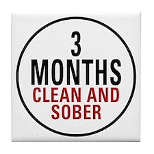 3 Months Clean & Sober Tile Coaster