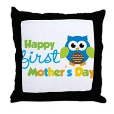 Owl Boy 1st Mothers Day Throw Pillow
