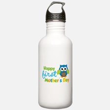 Owl Boy 1st Mothers Day Water Bottle