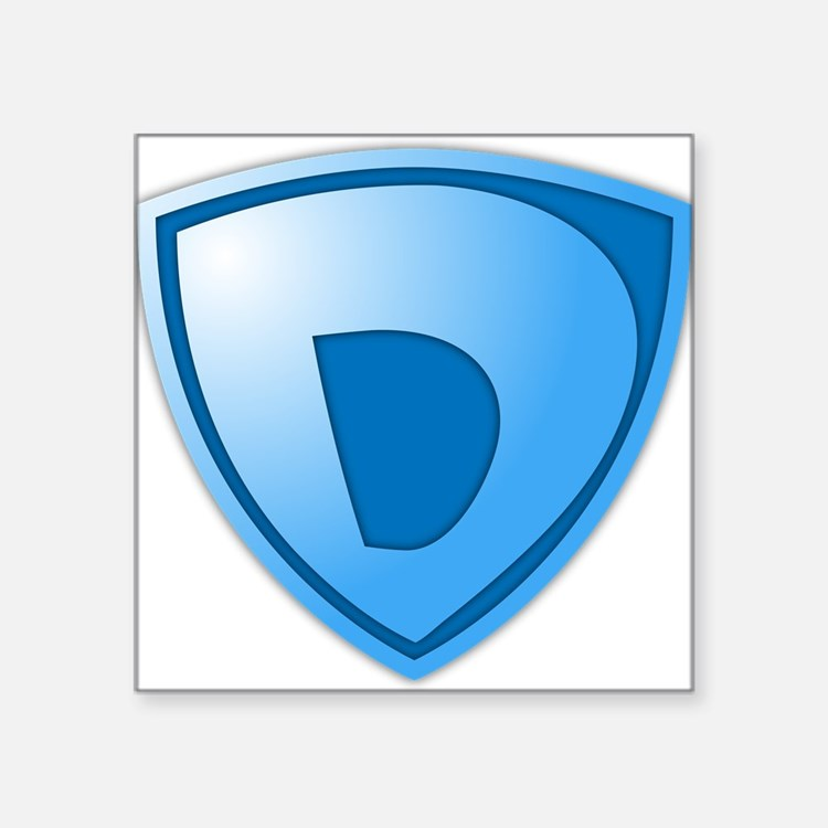 "Super D Super Hero Design Square Sticker 3"" x 3"""