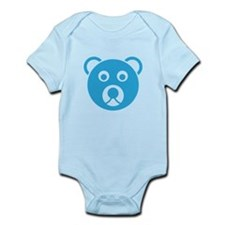 Cute Blue Teddy Bear Face Body Suit