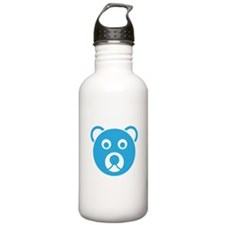 Cute Blue Teddy Bear Face Water Bottle