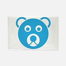 Cute Blue Teddy Bear Face Rectangle Magnet