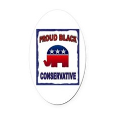PROUD BLACK Oval Car Magnet