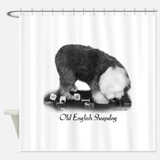 Old English Sheepdog Obedience Shower Curtain