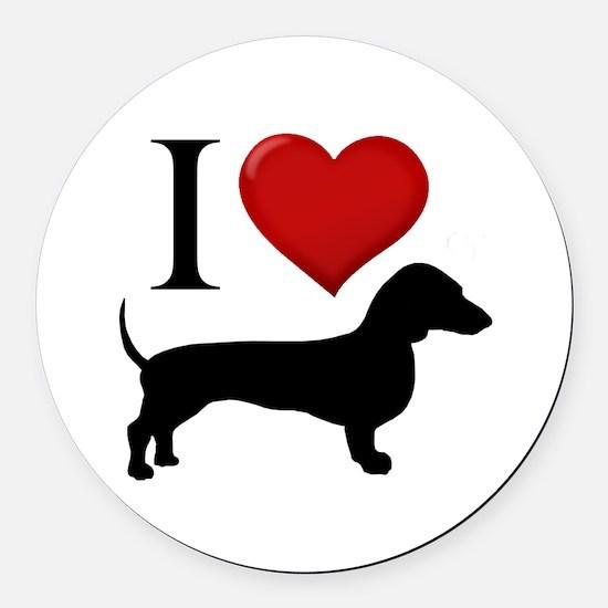 Dachshund - I Love Dachshunds Round Car Magnet